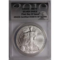 2010 AMERICAN SILVER EAGLE ANACS MS 70 2010 AMERICAN SILVER EAGLE ANACS MS 70. ESTIMATE: $85-$100