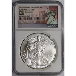 2015-W AMERICAN SILVER EAGLE NGC MS 70 2015-W AMERICAN SILVER EAGLE NGC MS 70. EARLY RELEASE. ESTIMA