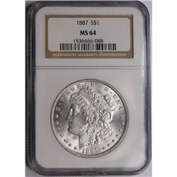 1887 MORGAN SILVER DOLLAR NGC MS64 1887 MORGAN SILVER DOLLAR NGC MS 64 WHITE. ESTIMATE: $85-$100