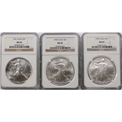 NGC GRADED MS69 EAGLES 91, 98 AND 99. NGC GRADED MS 69 AMERICAN SILVER EAGLES: 991, 1998 AND 1999. E
