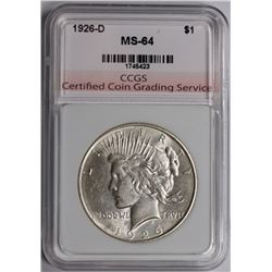 1926-D PEACE SILVER DOLLAR CCGS GRADED GEM BU