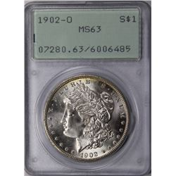 1902-O MORGAN DOLLAR PCGS MS 63 RATTLER HOLDER 1902-O MORGAN DOLLAR PCGS MS 63 RATTLER HOLDER. LOOKS
