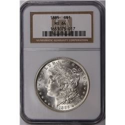1885 MORGAN SILVER DOLLAR NGC MS64 WHITE. 1885 MORGAN SILVER DOLLAR NGC MS64 WHITE! ESTIMATE: $85-$1