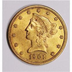 1901 $10 LIBERTY GOLD BU 1901 $10 LIBERTY GOLD BU. ESTIMATE: $750-$850