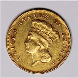 1874 $3 GOLD AU RARE! VERY NICE! 1874 $3 GOLD AU, RARE VERY NICE! GOOD INVESTMENT! ESTIMATE: $1250-$
