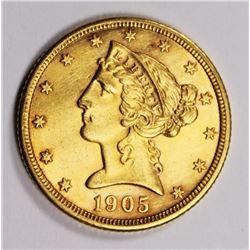 1905 $5 GOLD AU/UNC NICE 1905 $5 GOLD AU/UNC NICE! ESTIMATE: $400-$500