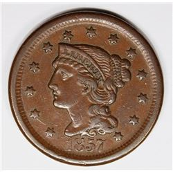 1857 LARGE CENT LARGE DATE XF-AU RARE! 1857 LARGE CENT LARGE DATE XF/AU RARE! ESTIMATE: $275-$350