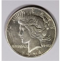 1934-S PEACE DOLLAR CH AU KEY COIN 1934-S PEACE DOLLAR CH AU KEY COIN. ESTIMATE: $500-$600