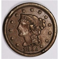 1855 LARGE CENT. KNOB ON EAR ABOUT XF. 1855 LARGE CENT. KNOB ON EAR. ABOUT XF. ESTIMATE: $125-$150