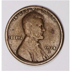 1914-D LINCOLN CENT VG KEY COIN. 1914-D LINCOLN CENT VG KEY COIN. ESTIMATE: $130-$150