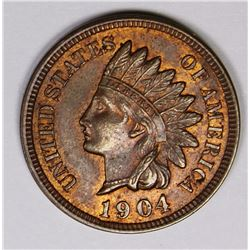1904 INDIAN CENT GEM BU+ RED BROWN 1904 INDIAN CENT GEM BU+ RED BROWN. ESTIMATE: $175-$200