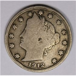 1912-S LIBERTY NICKEL VG+ KEY COIN 1912-S LIBERTY NICKEL VG+ KEY COIN. ESTIMATE: $135-$150