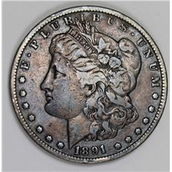 1891-CC MORGAN SILVER DOLLAR VF+ NICE! 1891-CC MORGAN SILVER DOLLAR VF+ NICE! ESTIMATE: $115-$150