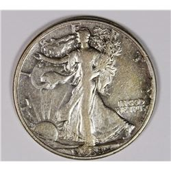 1938-D WALKING LIBERTY HALF DOLLAR VF KEY COIN. 1938-D WALKING LIBERTY HALF DOLLAR VF KEY COIN. ESTI