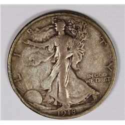 1918-S WALKING LIBERTY HALF DOLLAR XF ORIGINAL 1918-S WALKING LIBERTY HALF DOLLAR XF ORIGINAL. ESTIM