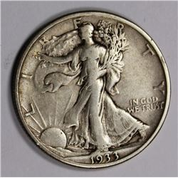 1933-S WALKING LIBERTY HALF DOLLAR XF 1933-S WALKING LIBERTY HALF DOLLAR XF ORIGNAL. ESTIMATE: $85-$