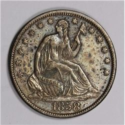 1858 SEATED HALF DOLLAR ORIGINAL TONED, AU NICE 1858 SEATED HALF DOLLAR ORIGINAL TONED, AU NICE. ESI