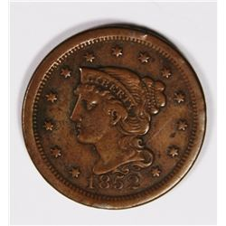 1852 LARGE CENT XF NICE 1852 LARGE CENT XF NICE. ESTIMATE: $60-$80