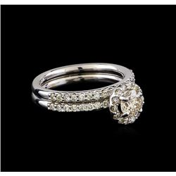 1.17 ctw Diamond Wedding Ring Set - 14KT White Gold