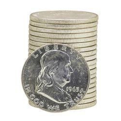 Roll of (20) 1963-D Brilliant Uncirculated Franklin Half Dollars