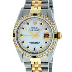 Rolex Mens 2 Tone 14K Mother Of Pearl Diamond & Sapphire Datejust Wristwatch