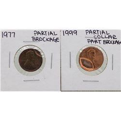 Lot of 1977 Partial Brockage & 1999 Partial Collar Brockage Lincoln Cent ERROR C