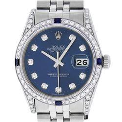 Rolex Mens Stainless Steel Diamond Lugs Blue Diamond & Sapphire Datejust Wristwa