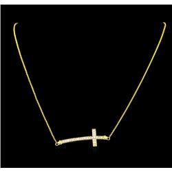 0.55 ctw Diamond Cross Necklace - 18KT Yellow Gold