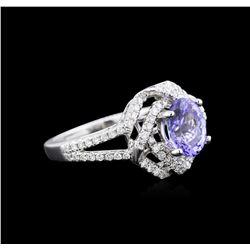 1.63 ctw Tanzanite and Diamond Ring - 18KT White Gold