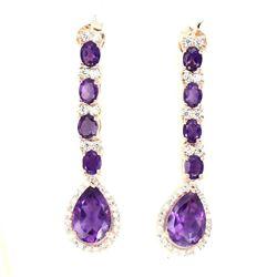 Natural Top Intense Purple Amethyst Earrings