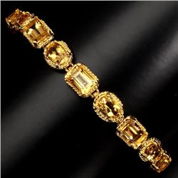 Natural Top Rich Yellow Citrine 57.70 CT Bracelet