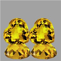 Natural Golden Yellow Citrine Hearts Pair Flawless