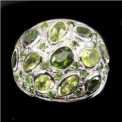 Natural Green Peridot & Chrome Diopside Ring