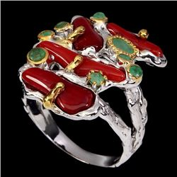 Natural Top Red Coral & Emerald Ring