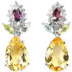 Natural CITRINE TOPAZ PERIDOT RH-GARNET Earrings