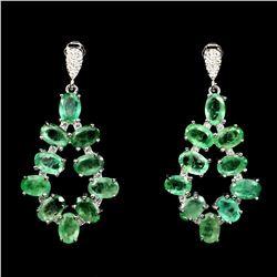 Natural Green Emerald 35 Carats Earrings