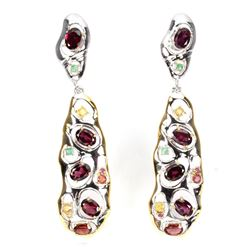 Natural  Rhodolite Garnet Emerald Sapphire Earrings