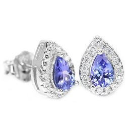 NATURAL AAA BLUE TANZANITE PEAR Earrings