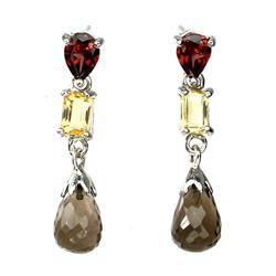 Natural  Briolette Smoky Quartz Citrine Garnet Earrings