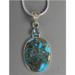 AMAZING 17 CT NATURAL BLUE TURQUOISE AND COPPER PENDANT