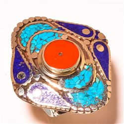 GORGEOUS TURQUOISE , BLUE LAPIS AND CORAL RING