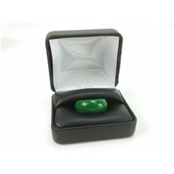 BEAUTIFUL HAND CARVED 26.5 CT GREEN JADE RING.