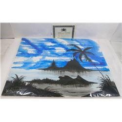 """187) """"BLUE CRUSH"""" WILLIAM VERDULT OIL ON ARTIST"""