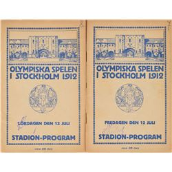 Stockholm 1912 Summer Olympics Pair of Programs