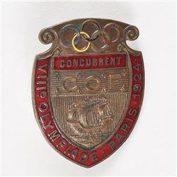Paris 1924 Summer Olympics Participation Badge