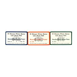 Lake Placid 1932 Winter Olympics Celluloid Ticket Set