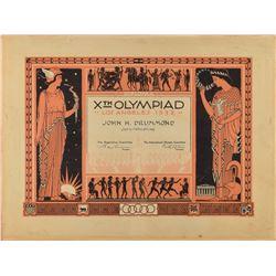 Los Angeles 1932 Summer Olympics Participation Diploma
