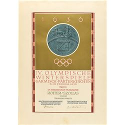 Garmisch 1936 Winter Olympics Bronze Winner's Medal with Case and Diploma