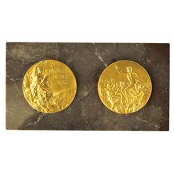 Berlin 1936 Summer Olympics Gilt Bronze Marble Plaque