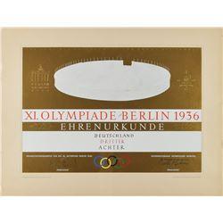 Berlin 1936 Summer Olympics Winner's Diploma